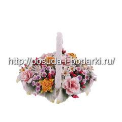 Статуэтка фарфоровая. Корзинка от цветами d-14, h-10 см