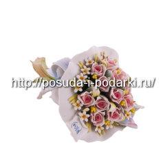 Статуэтка фарфоровая. Букет роз большенный l-24*16, h-10 см