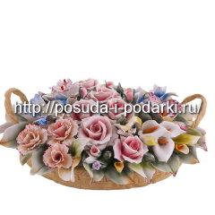 Статуэтка фарфоровая. Корзинка овальная  со цветами из ручками 01*26, h-7 см