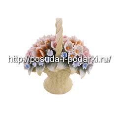 Статуэтка фарфоровая. Корзинка из цветами 02*6, h-13 см