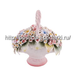 Статуэтка фарфоровая. Корзинка овальная от цветами 06*11, h-18 см