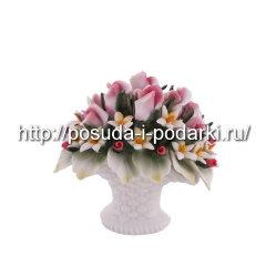 Статуэтка фарфоровая. Вазочка  со цветами 0*7, h-9 см