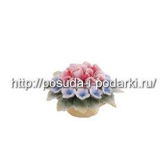 Статуэтка фарфоровая. Вазочка  со цветами d-6,5 h-4 см